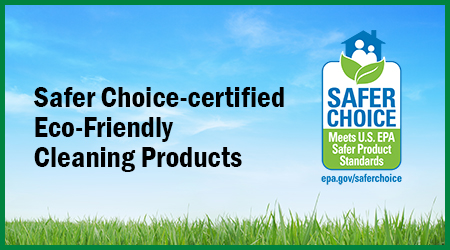EPA Safer Choice-certified Eco-Friendly Cleaning Products lush green grass with blue sky background